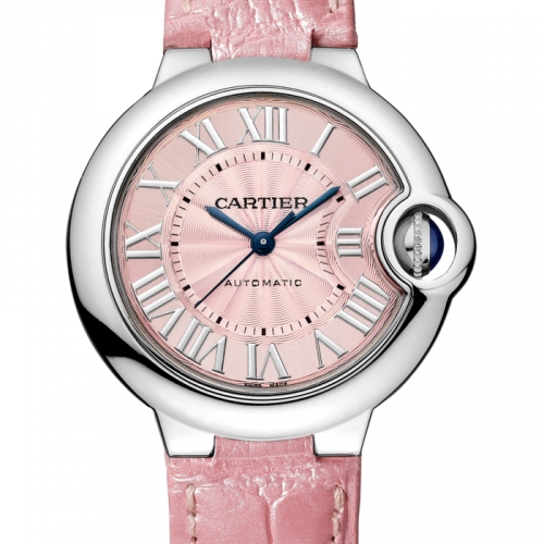 Ballon Bleu 33mm Steel Pink Leather